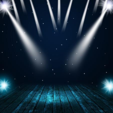 tanzen: Musikkonzert Hintergrund mit Strahlern auf der Bühne