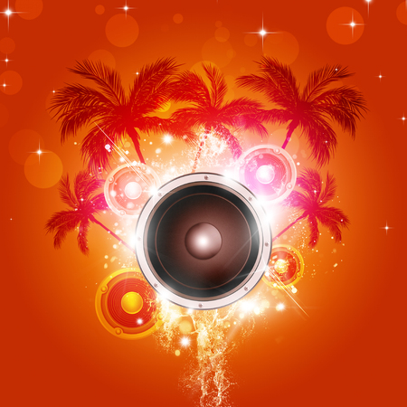 disco speaker: tropical party night pacific music background with palms and sound speaker