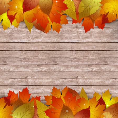 notice: wood autumn notice with yellow fallen leaves
