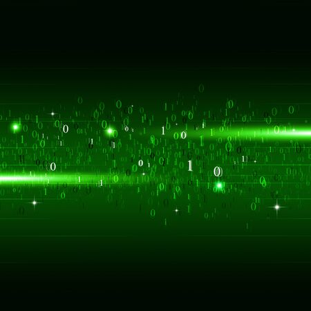 background information: abstract motion binary code numbers concept technology green background