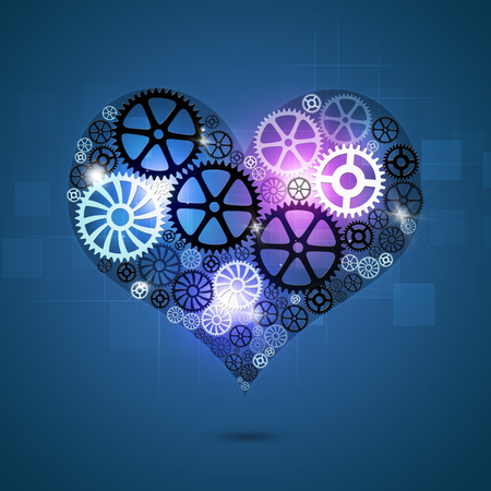 heart intelligence: abstract technology business background with heart shape gears Stock Photo