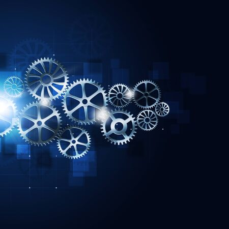 action blur: abstract technology business motion gears on blue background