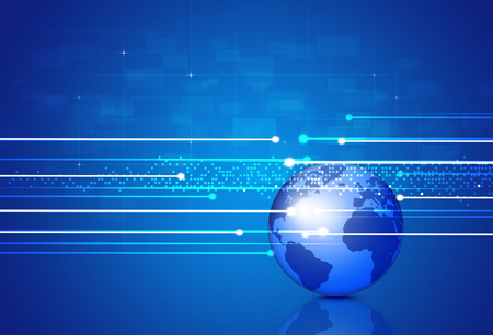 technology concept: technology digital global business blue concept background Stock Photo