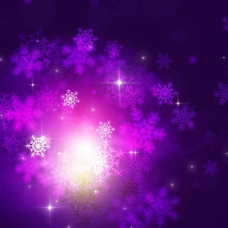 blurry lights: abstract christmas celebration winter purple background with snow and blurry lights Stock Photo