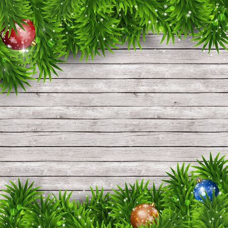 blurry lights: winter holiday christmas greeting background with snow fir tree and blurry lights Stock Photo
