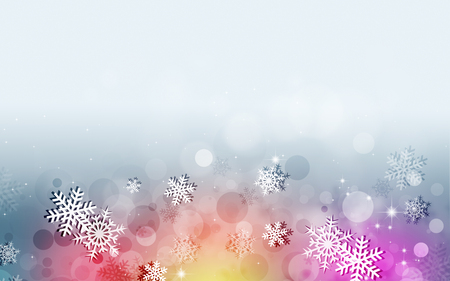 blurry lights: abstract snow multicolor background with snowflakes and blurry lights Stock Photo