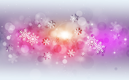 blurry lights: abstract multicolor snow background with snowflakes and blurry lights