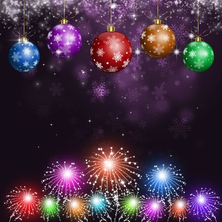 pyrotechnics: abstract winter holiday christmas card with snow and pyrotechnics Stock Photo