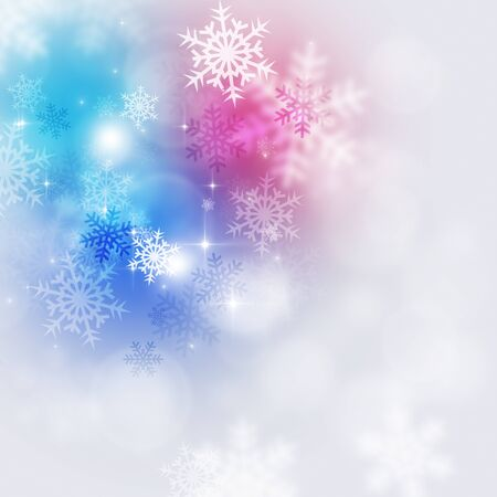 blurry lights: abstract mutlicolor xmas background with snowflakes and blurry lights Stock Photo