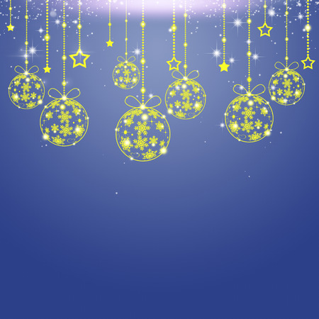 blinking: abstract holiday decoration background with xmas tree balls and snow