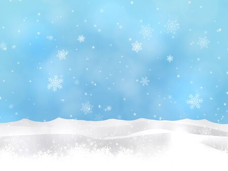 december background: winter christmas snow hills blue background with blurry lights