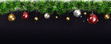 winter tree: winter christmas bright banner with tree and holiday balls