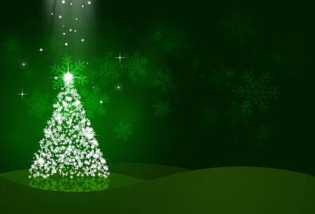snow tree: night christmas eve with snow tree on green background