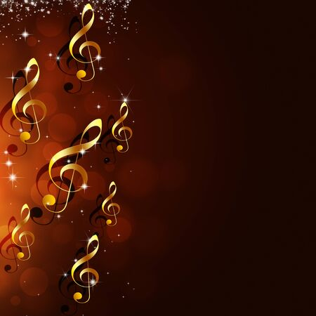 golden background: abstract golden music notes on red background