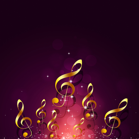 abstract golden music notes on red background