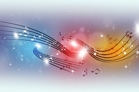 abstract party music notes on multicolor background