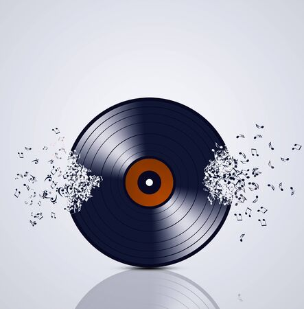 minimal: abstract minimal music vinyl background with music notes