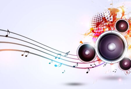 sound speaker: sound speaker multicolor music background with muisc notes and blurry lights