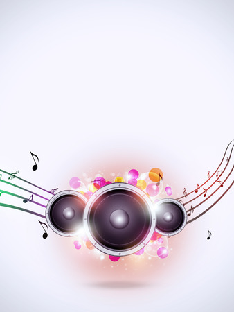 sound speaker: abstract music background with sound speaker and music notes Stock Photo