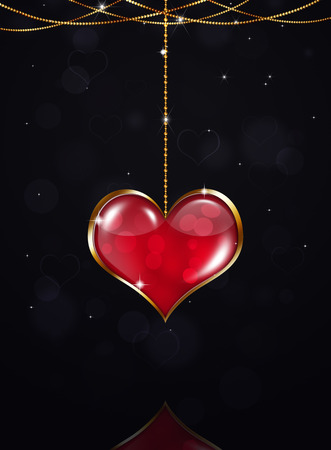 blurry lights: valentine golden heart on dark holiday background with stars and blurry lights