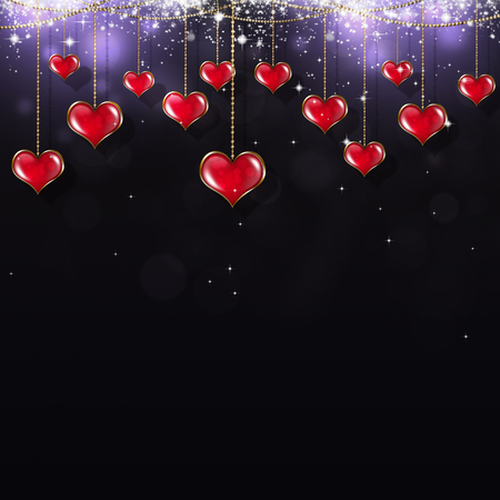 blurry lights: valentine holiday greeting card with red hearts stars and blurry lights