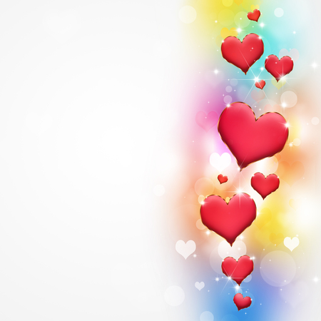 lovely valentine red hearts on multicolor background Stock Photo