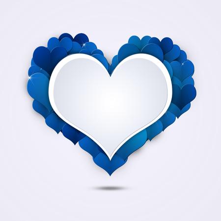 corazones azules: vacaciones de San Valentín tarjeta de forma de corazón con los corazones azules