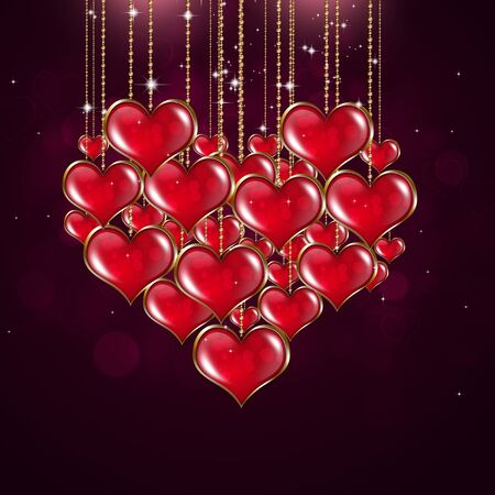 valentine card: valentine holiday greeting card with red hearts stars and blurry lights