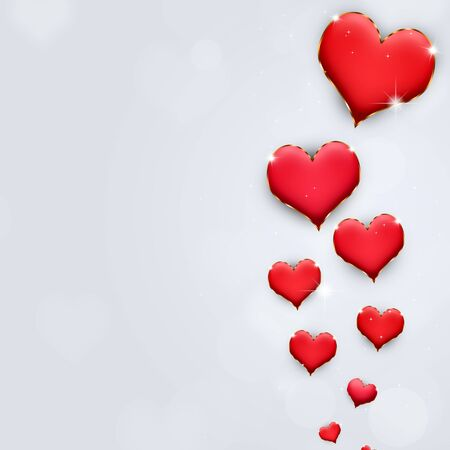 lovely valentine red hearts on the bright background Stock Photo