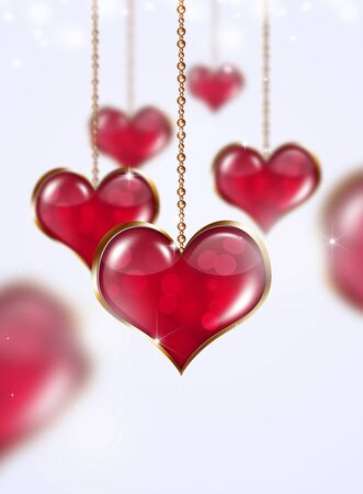 blurry lights: valentine golden hearts on bright background with stars and blurry lights Stock Photo