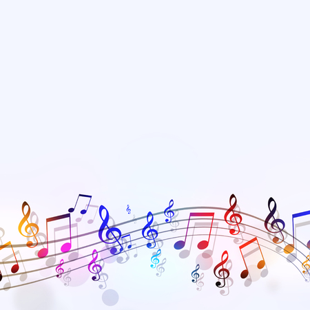 abstract bright background with multicolor music notes