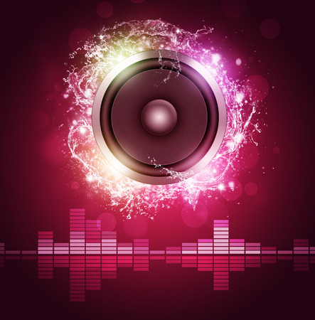 abstract sound speaker red music background for disco night club parties