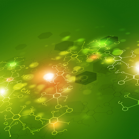 green chemistry: abstract technology and science green background with chemistry elements Stock Photo