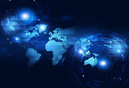 digital world: digital world of business technology communications blue background
