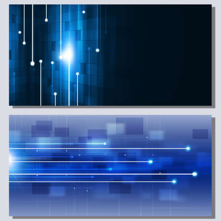 communication concept: abstract communication technology concept two blue banners Stock Photo