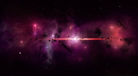 imaginary: imaginary deep space star filed with nebula stars and asteroids Stock Photo