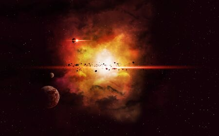 imaginary: imaginary deep space nebula background with planets and asteroids