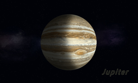 jupiter light: imaginary space illustration of the biggest gas giant Jupiter Stock Photo