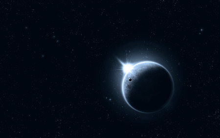imaginary: imaginary solar eclipse space blue image with stars and lights