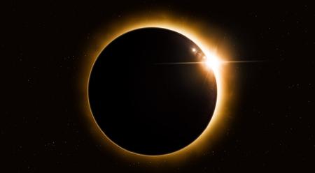 felle zon eclips van de maan in de ruimte denkbeeldig illustratie