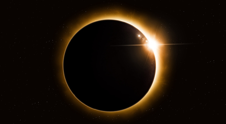 bright sun eclipse by moon in space imaginary illustration