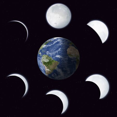 moon phases: imaginary illustration of moon phases calendar around earth Stock Photo