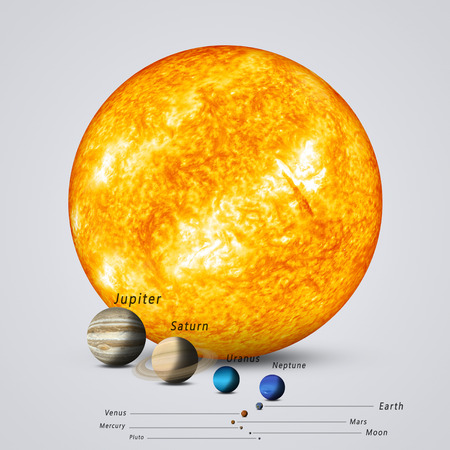 sun and solar system planets full size comparison Banco de Imagens - 57642163