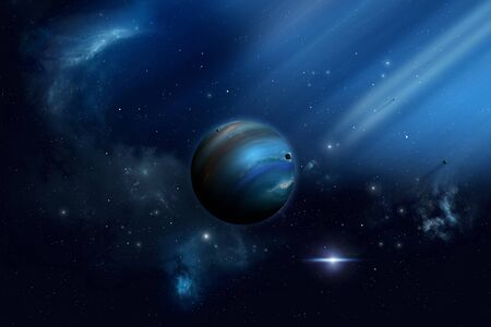 imaginary: imaginary space illustration of planets and solar lights in the universe