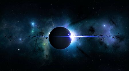 imaginary: imaginary deep space eclispe with nebula stars and asteroids