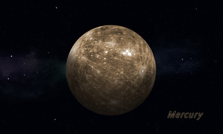 imaginary: imaginary illustration of solar sustem planet Mercury Stock Photo