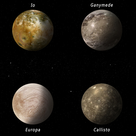 io: imaginary illustration of four best known Jupiter moons