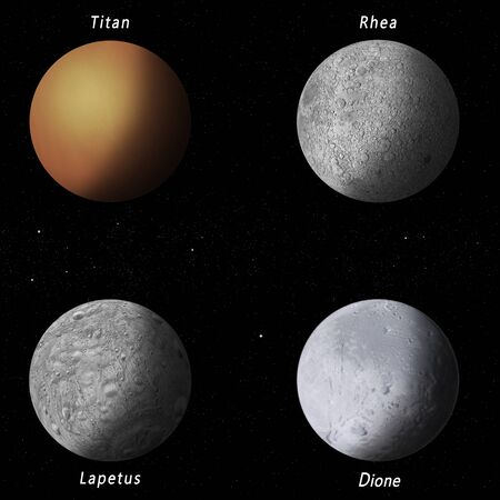 dione: imaginary illustration of four best known Saturn moons Stock Photo