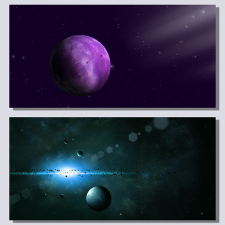 deep: abstract fantasy deep space banners with planets and stars