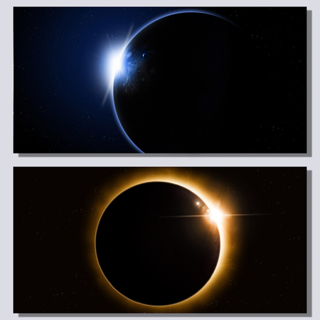 eclipse: abstract fantasy deep space eclipse banners with planets and stars Stock Photo